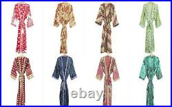 10 Pcs Wholesale Lot Women Wear Kimono Vintage Silk Sari Bathrobe Dressing Gown