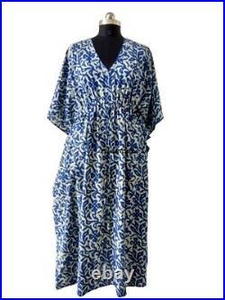 10 Pcs Wholesale Lot of Women Kaftan Dress Indigo Blue Beach Wear Long Caftan