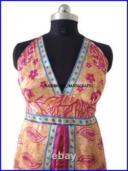 10 Recycle Silk Sari Short Dress Women Dress Wholesale Lot DS38