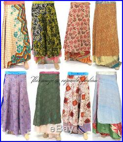 20 PC Vintage Silk Sari Magic Wrap Around Frill Skirt Dress Wholesale Lot Indian