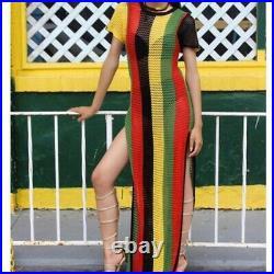 24x Ladies Rasta Stripe 100% Egyptian Cotton String Maxi dress wholesale joblot