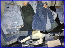 250 Pcs Vintage Levis, Lee, Wrangler Shorts Wholesale Random Colours Random Sizes