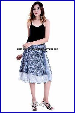 30 PC Wholesale Lot Indian Skirt Women Wrap Around Rapron Silk Skirt Short Skirt