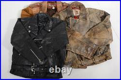 5 x Vintage Women's Heavyweight Leather Biker Jackets WHOLESALE BULK JOBLOT
