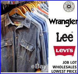 500 x VINTAGE DENIM SHIRT JOB LOT WHOLESALE RANDOM LEE, LEVI'S, WRANGLER, UNBRANDED