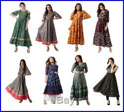 8 Pic Wholesale Lot Bollywod Long Anarkali Kurta Women Ethnic Indian Kurti Dress