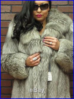 Ladies LUX! Real $5K -SILVER INDIGO PLATINUM FOX FUR COAT JACKET below wholesale