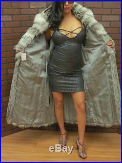 Ladies NEW! Wholesale 50 long SILVER INDIGO PLATINUM BLACK FOX FUR COAT 12