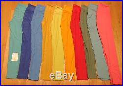 NWT & NWOT Wholesale Lot of 10 Lularoe Solid Red Yellow Blue Green Leggings, OS