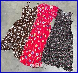 VINTAGE WHOLESALE 50 x 90s FLORAL GRUNGE BUTTON DRESSES