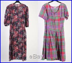 Vintage Dresses 80s 90s Retro Floral Plain Printed Job Lot Wholesale x20 -Lot435