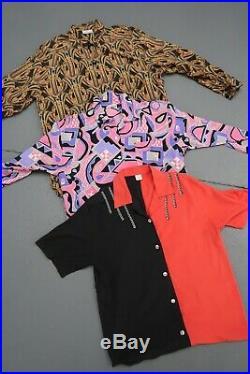 Wholesale Vintage crazy pattern 80's 90s womens blouses shirts x 50