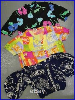 Wholesale Vintage crazy pattern short 80's 90s womens blouses shirts x 50